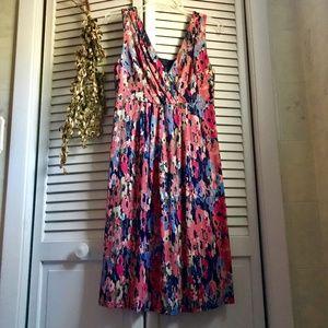 Ann Taylor Floral Print Soft Cotton Dress, V-Neck